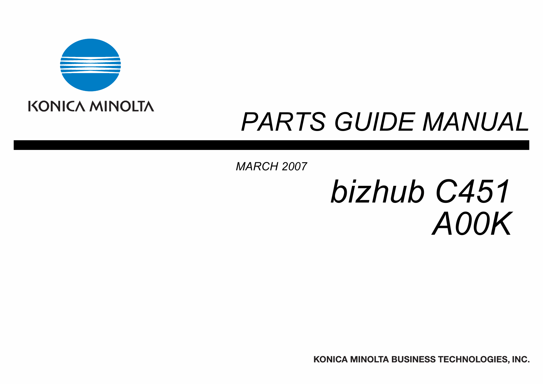 Konica-Minolta bizhub C451 Parts Manual